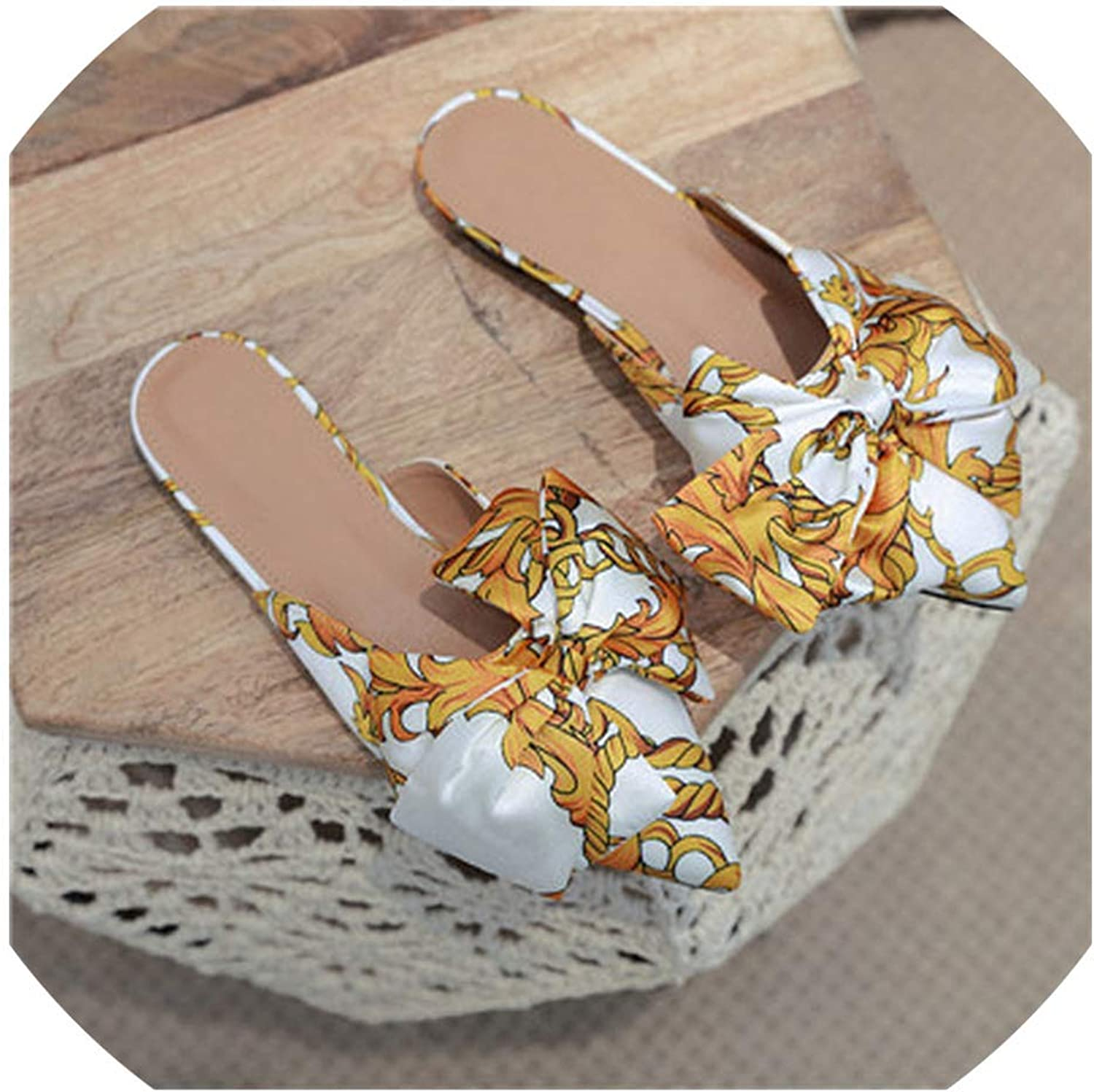 Spring Woman Silk Butterfly-Knot Point shoes Flat Slides Slip On Loafers Mules Flip Flops