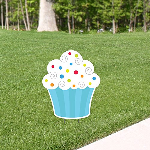 1 ft. 10 in. Blue Birthday Bash Cupcake Yard Sign Party Supplies Decorations