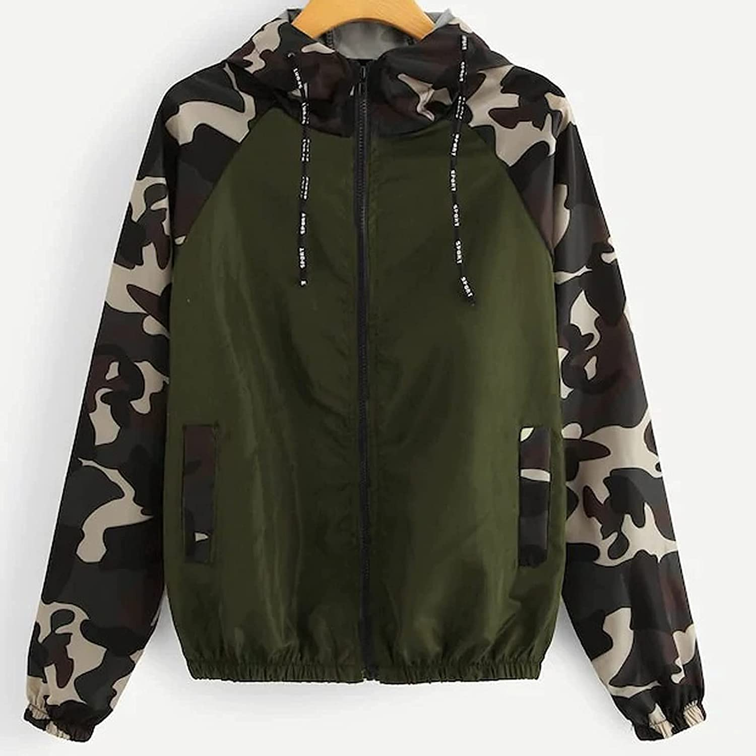 TLOOWY Women's Camo Zip up Hoodie Jacket Camouflage Long Sleeve Drawstring Hooded Pullover Sweatshirt with Pocket