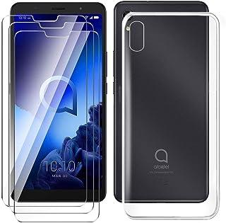 HYMY fodral + 3X skärmskydd för Alcatel 3C 2019 Smartphone - Transparent TPU Mjuk Silikon Protection Gel Fashion Skin back...