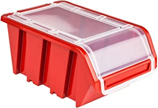 10 x Stapelbox stapelkist sorteerbox box met deksel 120 x 195 x 90 rood