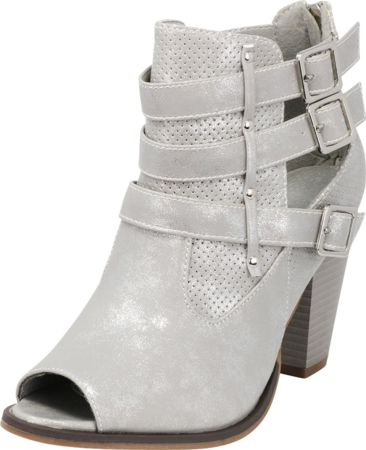 Cambridge Select Women's Peep Toe Perforated Cutout Strappy Buckled Chunky Stacked Heel Ankle Bootie