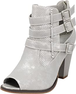Cambridge Select Women's Strappy Buckle Peep Toe Perforated Chunky Heel Ankle Bootie