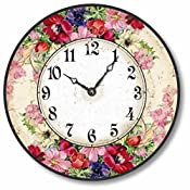vintage english floral wall clock with red and pink flowers