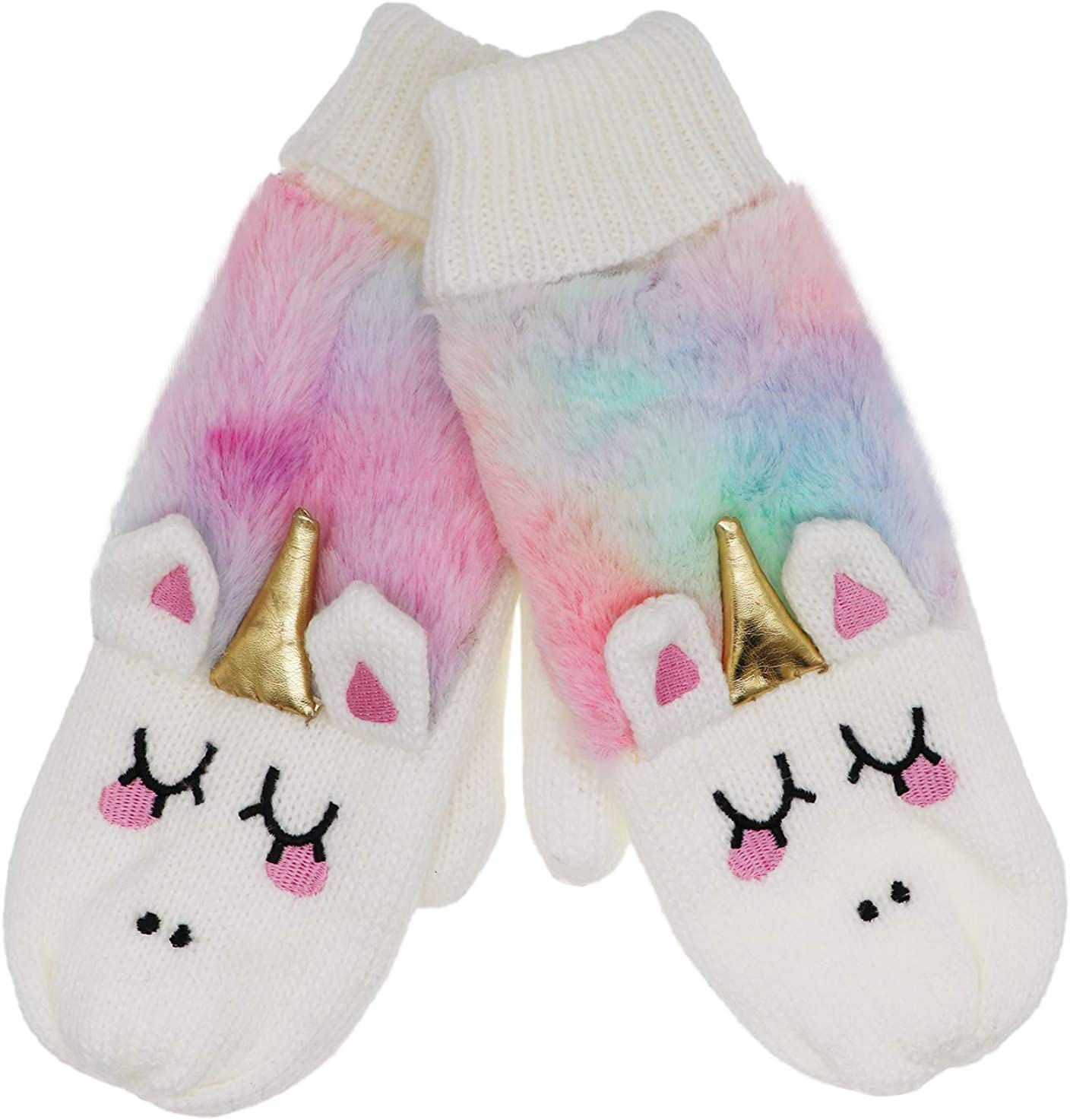 Women Ranking TOP8 Girls Kids Unicorn Manufacturer regenerated product Mittens Tie Winter Dye Lini Gloves Warm