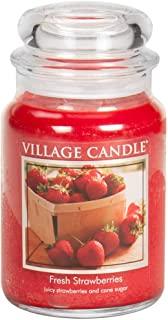 Village Candle Fresh Strawberries Large Glass Apothecary Jar Scented Candle, 21.25 oz, Red