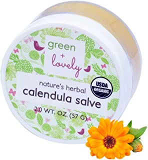 Nature's Herbal Calendula Salve by Green & Lovely - Certified Organic Calendula Cream - Beauty Ointment - 2 oz Container - Eczema & Psoriasis (Unscented)