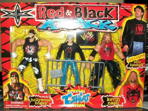 WCW RED AND BLACK ATTACK- HOLLYWOOD HOGAN, KEVIN NASH, AND ERIC BISCHOFF- ULTRA RARE by Toybiz