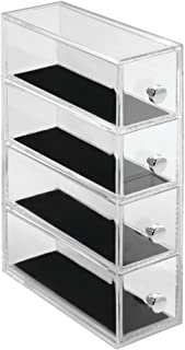 InterDesign Clarity Jewellery Vanity Storage Tower, Plastic Jewellery Organiser with 4 Drawers, Clear