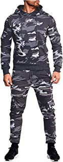 Men's Tracksuit Set Camouflage Pleated Raglan Sweatshirt Jogger Sweatpants Solid Patchwork Warm Sports Suit