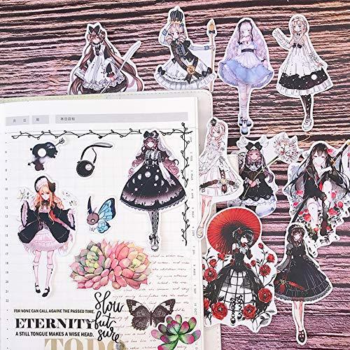 HENJIA Chica gótica Cuenta de Mano Chica Pegatina Chica corazón Lindo pequeño Material Adhesivo Fresco