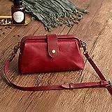 Premium Leather Retro Handmade Bag,Vintage Leather Purse Crossbody Shoulder Satchel Bag Messenger Bag Doctor Bag, Multipurpose <span class='highlight'><span class='highlight'>Zippy</span></span> Handbag (Red wine)