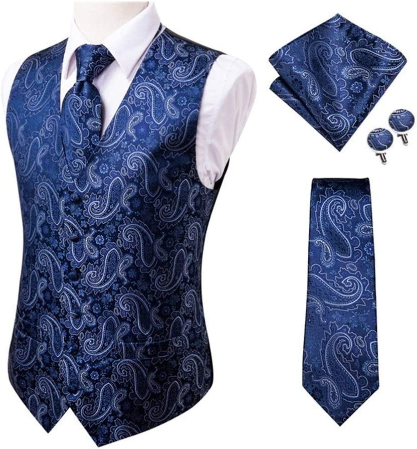 QWERBAM Men's We OFFer at cheap prices Blue Chicago Mall Silk Jacquard Cuf Handkerchief Waistcoat Vest