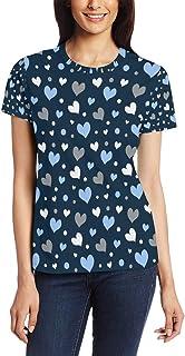 XiangHeFu T Shirt voor vrouwen meisjes schattige harten aangepaste korte mouw