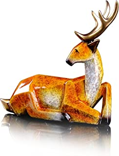 Gift collection Bronze Elk Statue Sitting Deer Figurine Metal Christmas Reindeer Art Decor Collectible Gift
