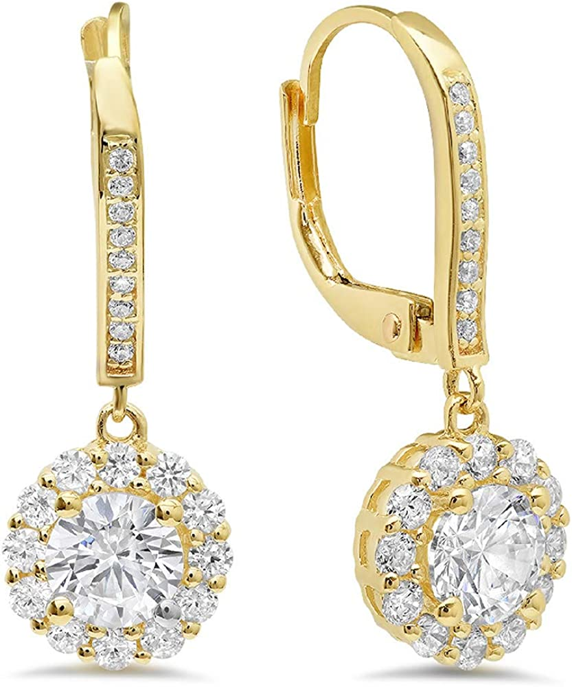 Clara Pucci 3.40 CT Round Cut Conflict-Free VVS1 Ideal Gemstone Birthsone designer Solitaire Halo PAVE Drop dangle Lever Back Earrings Solid 14k Yellow Gold