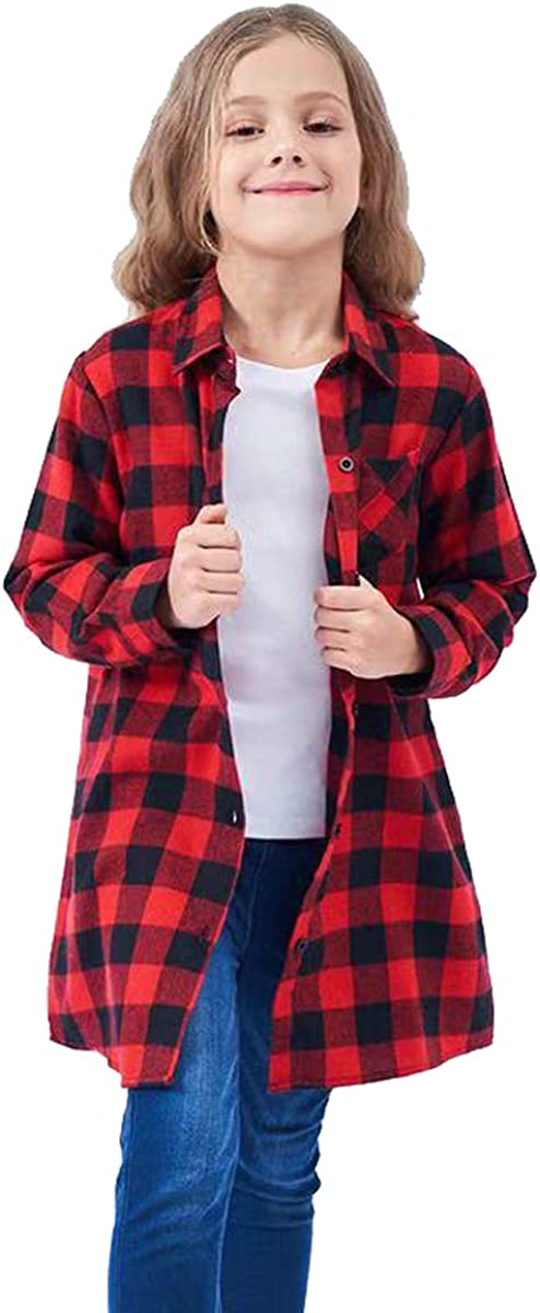 UWBACK Girls Long Sleeve Flannel Check Plaid Shirts Button Down Shirt Dress