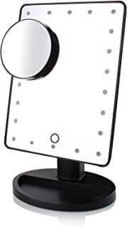 MEGICOT Makeup Mirror with Touch Screen Dimming, Detachable 10X Magnification Spot Mirror, 180° Adjustable Rotation, USB C...