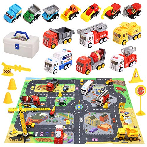 Construction Vehicles Toys with Play Mat, Toy Trucks Playset, Dump Truck, Excavator, Cement, Police car, Fire Engines & Mini Engineering Pull Back Cars Set for Toddlers Boys Girls Birthday Christmas