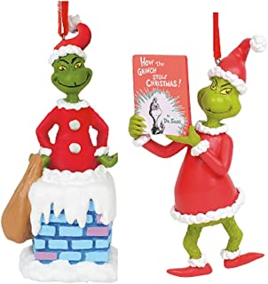 Enesco Gift Dept 56 2019 How The Grinch Stole Christmas Ornament Bundle: Grinch with Book and Grinch, Grinch in Chimney with Sound