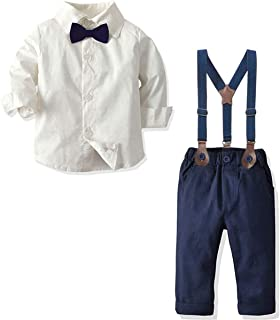 Baby Boys Clothes, Dress Shirt with Bowtie + Suspender Pants, 6 Months - 6 Years