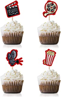 Movie Night Cupcake Toppers Picks, 24-Pack Red Carpet Hollywood party decorations