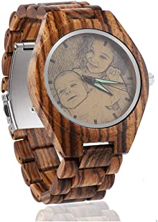 Personalized Customized Wooden Watch with Photo Or Message Double-Side Engraving for Personalized Gift…