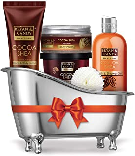 Bryan & Candy New York Cocoa Shea Bath Tub Kit for Complete Home Spa Experience (Shower Gel, Hand & Body Lotion, Sugar Scr...