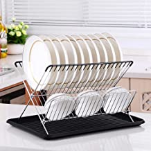 Dish Drainer, Kitchen Plate Rack, 2 Tier Folding X Shape Dish Rack, Plate Stand with Plastic Anti-Slip Drainboard Kitchen ...