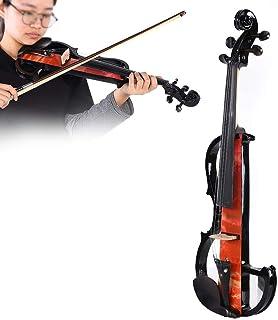 Nannday Violín eléctrico, Regalo de Instrumento Musical de Madera de Arce Macizo para Estudiantes niños, con Arco, colofonia, Auriculares, Accesorios para un Rendimiento Profesional(Naranja)