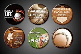 Baseball game magnets and pins Collections set of 6 Babe Ruth Quotes Baseball is Life Best Game Love the Game For fridge locker jackets bags Pinbacks Magnets (Magnets, 1.75 Inch Magnet)