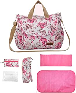 Floral Diaper Tote Bag Set For Girls Mom With Changing Pad and Stroller Straps, Waterproof Travel Baby Bags for Baby Care (pink)