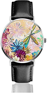 Watch Whimsical Floral Flowers Dragonfly Art Colorful Customized Wrist Watches Quartz Stainless Steel and PU Leather Personalized Custom for Unisex