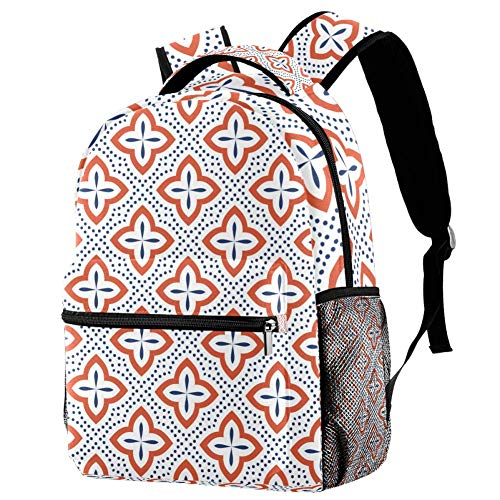 Desconocido Mochila Azul y Naranja sin Costuras, diseño Escolar, Bolsa de Libros,...