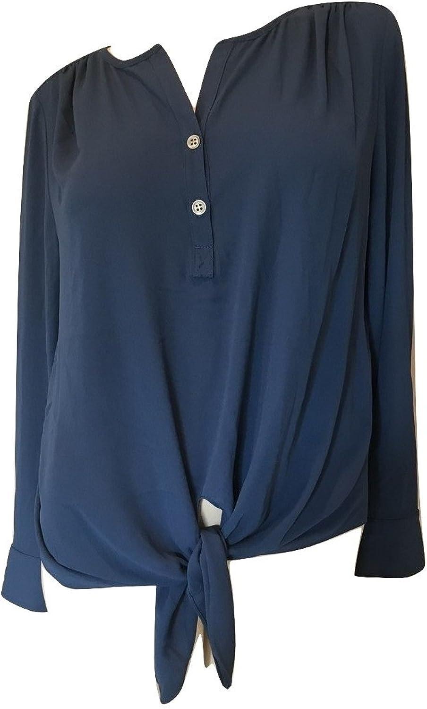 Karen Kane Women's Pacific Sunrise Tie Front Top, bluee, Medium