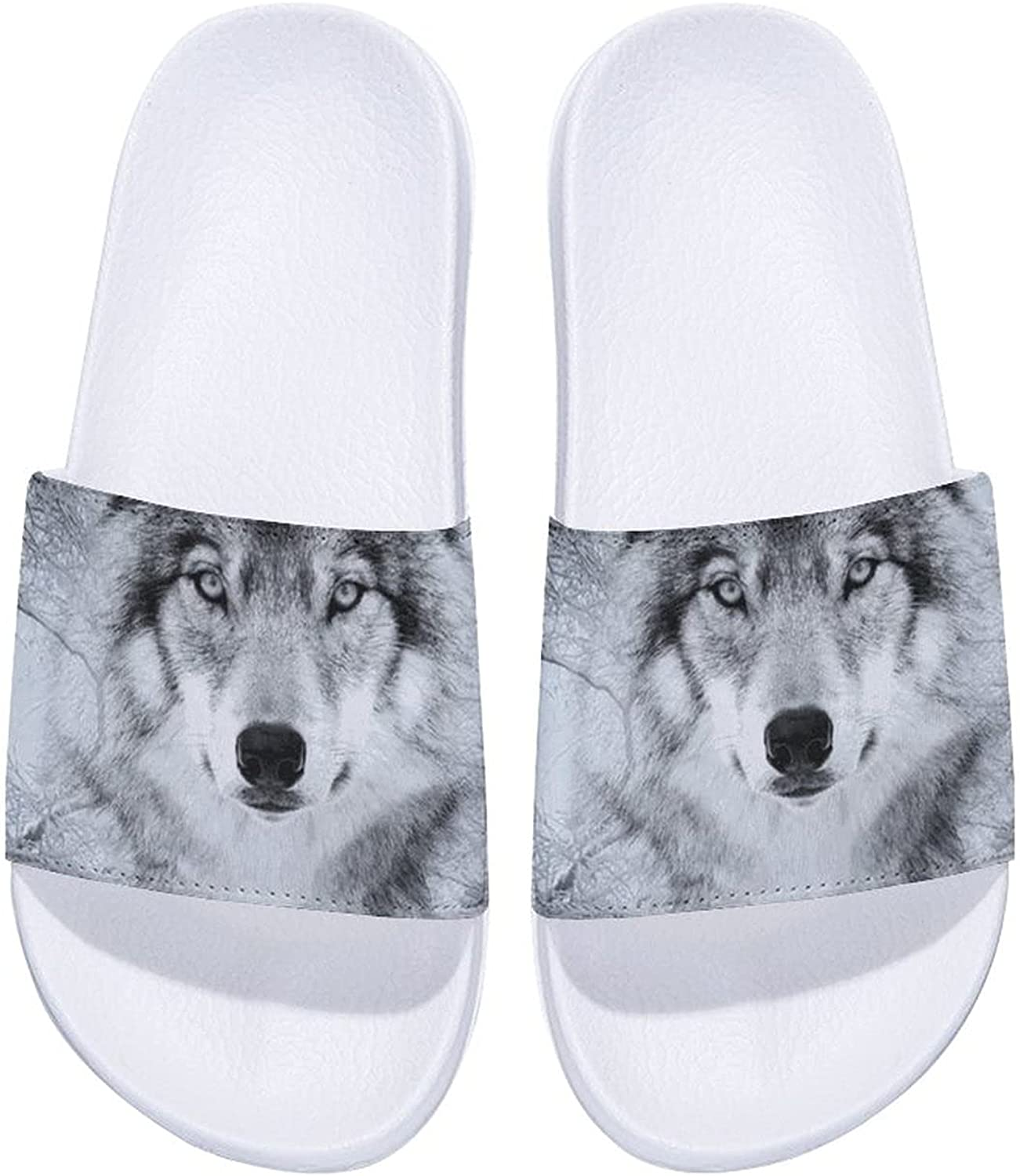 Fantasy Wolf in Winter Forest Men's and Oakland Mall Sa Comfort Max 90% OFF Slide Women's