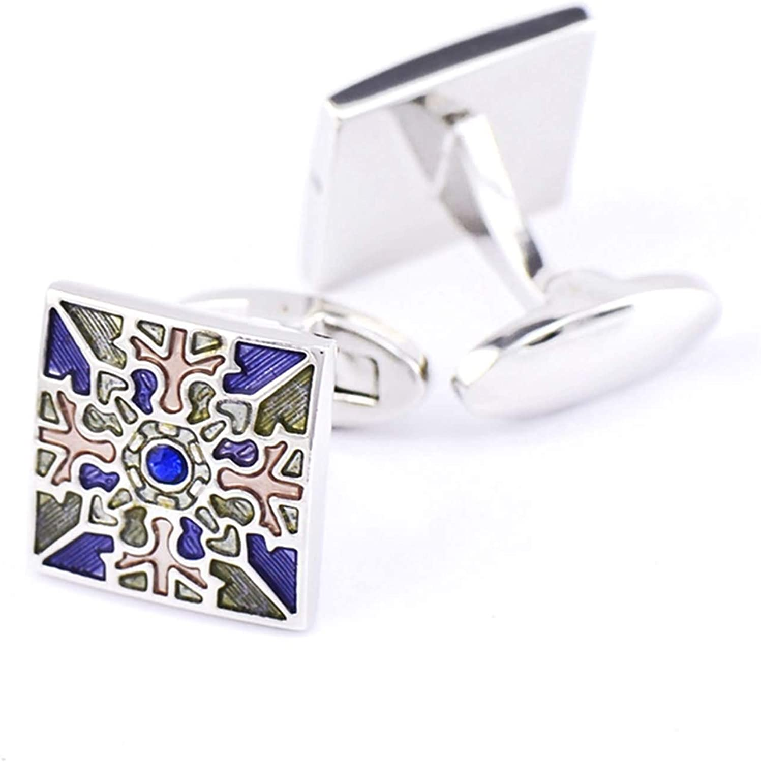 Daesar Cuff Links Copper Cufflinks and Studs for Men Square Cubic Zirconia Blue Cuff Links Shirt Colorful