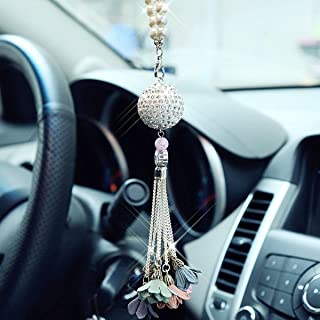 ifory Bling Car Accessories Crystal Ball-Flower Car Rear View Mirror Charm, Bling Pendant Car Decor Accessories