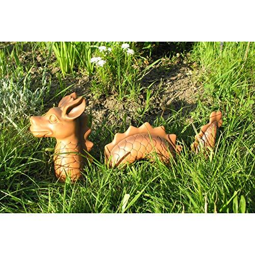 3-tlg. lustiger Deko Drachen Lindwurm 46x9x20cm Garten Figur Polystone Fantasy - 3