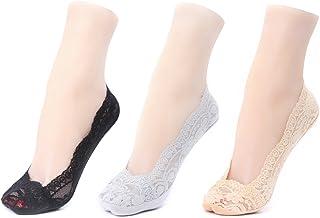 Gather Other, 3 Pares Mujer Calcetines Invisibles de Encaje con Silicona Anti-Deslizante Colores Mixto
