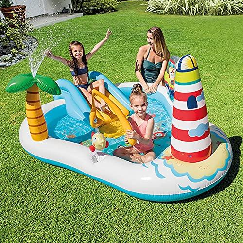 LGLE Diapositiva piscina inflable jardín piscina de agua piscina infantil piscina inflable, 218 × 188 × 99 CM fiesta al aire libre del agua