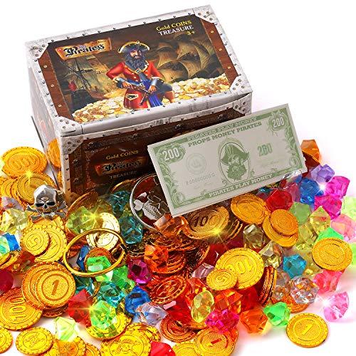 Ulikey 100 Pezzi Monete d'oro Pirata Plastica e 100 Pezzi Gemme dei Pirati, Tesoro Pirata Monete d'oro, Tesori per la Caccia al Tesoro Bambini Compleanno, Partito Regalo Party Decorazione Pirata