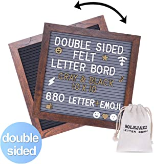 SOLEJAZZ Felt Letter Board Double Sided Letter Board, Gray & Black Changeable Message Board with 680 Clean Cut Letters(2 Colors), Wood Frame Word Board for Quotes, Messages, Displays, Words & More