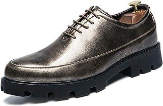 CHENXD Zapatos, Zapatos de Moda de Hombre Zapatos Gruesos Inferiores Impermeables de Negocios Oxford Ocasionales Suela de Cuero clásico clásico Formales