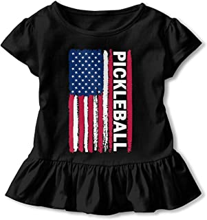 TS938S USA Flag Pickleball Funny Ruffle Cotton Short Sleeve Graphic for Toddler Baby Girl Gift