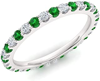 Natural and Certified Emerald and Diamond Wedding Ring in 10K White Gold | 0.77 Carat Full Eternity Stackable Band for Women, US Size 4 to 8