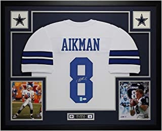 Troy Aikman Autographed White Cowboys Jersey - Beautifully Matted and Framed - Hand Signed By Troy Aikman and Certified Authentic by JSA - Includes Certificate of Authenticity