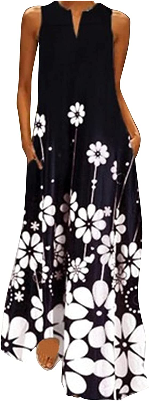 INNOVIERA Dresses for Women Casual,Womens Plus Size Long Maxi Dress Summer Boho Print V Neck Sleeveless Dress with Pockets