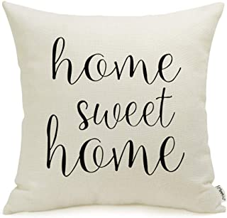 Farmhouse Pillow Covers with Home Sweet Home Quotes 18 x 18 Inch for Farmhouse Decor..