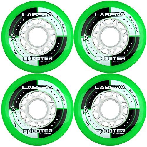 Labeda Rollen Inline Roller Hockey Shooter Allzweck-Roller, 72 mm, 83 A, Grün, 4 Stück
